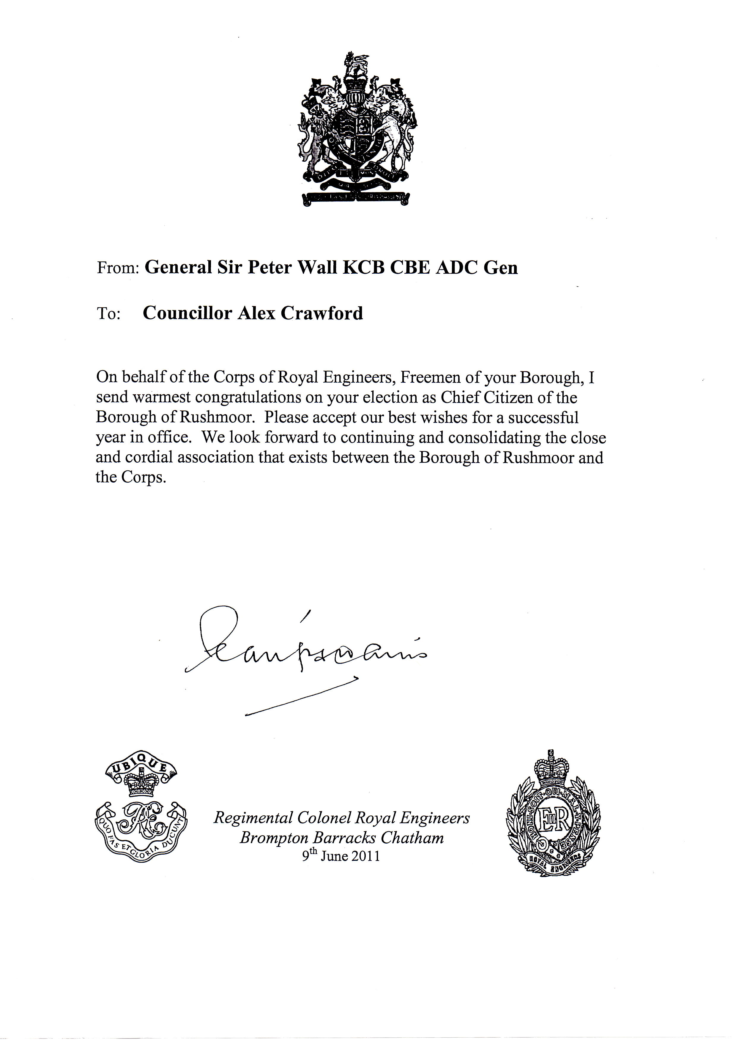Congratulations on behalf of the corps of royal engineers mayor of share this altavistaventures Choice Image
