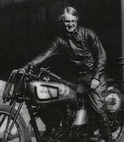 "Beatrice ""Tilly"" Shilling on her Norton M30"